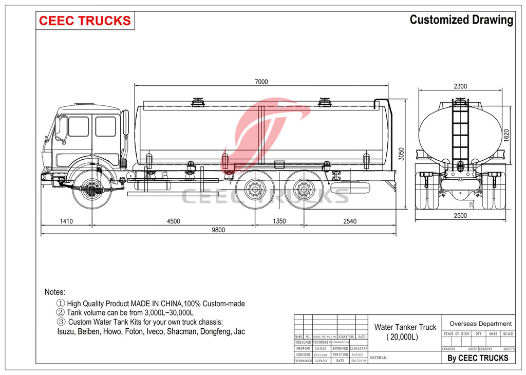 Iveco 20cbm tanker truck Technical drawing