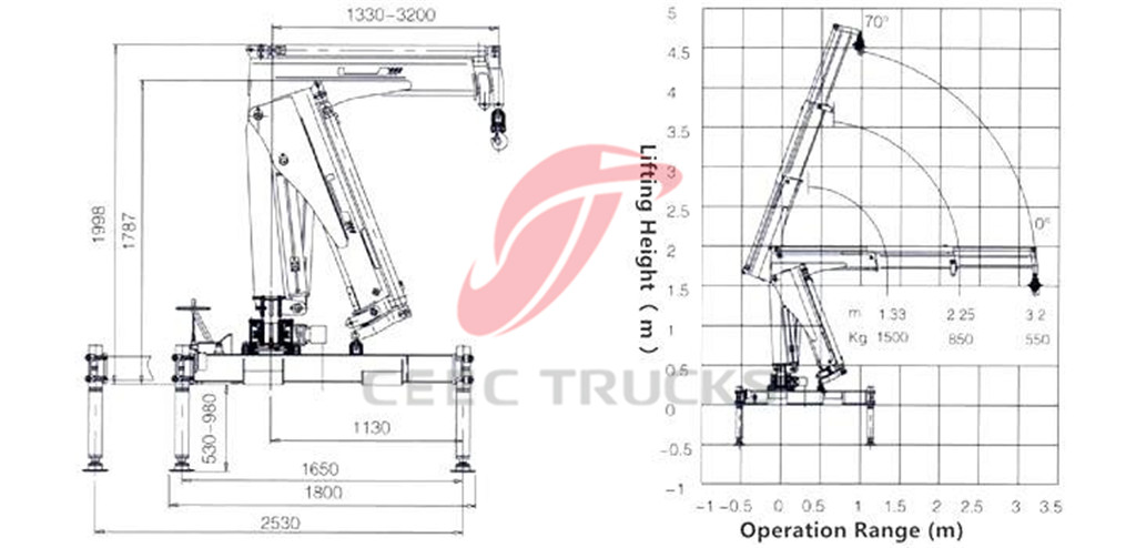 1 tons knuckle boom crane CAD drawing