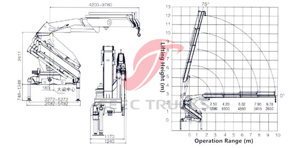 12Tons knuckle boom crane CAD drawing