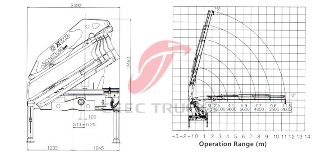 16tons knuckle boom crane CAD drawing