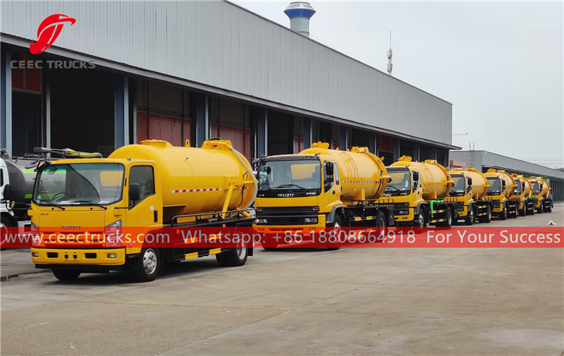 ISUZU Vacuum tanker trucks for export