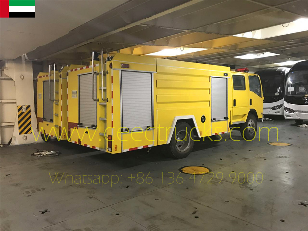 Dubai client buy 2 units firefighting trucks with yellowing painting